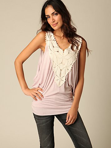 Free People Clothing Boutique > Crochet Dolman Top :  blouse pink tops top