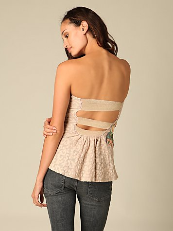 De Tierra Applique Tube Top :  boob tube cutout keyhole back nude
