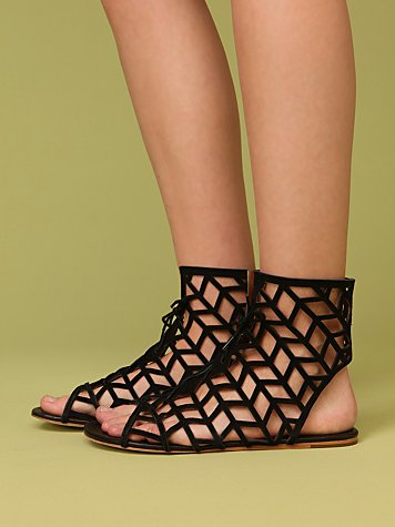 Cage Sandal by Cynthia Vincent at Free People Clothing Boutique :  rounded toe stripes free people womens