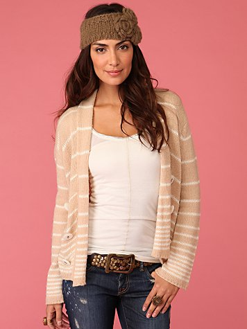 Peacoat Sweater :  striped fashion knir shrug