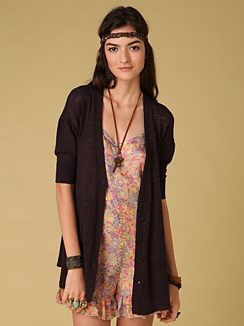 Slub Long Cardigan