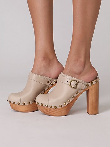 Charli Platform Clog at Free People Clothing Boutique :  round buckle beige slingback free people