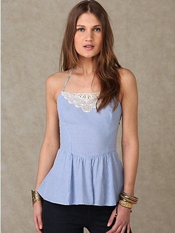 Pinstripe Halter at Free People Clothing Boutique :  blue free people smocking flare