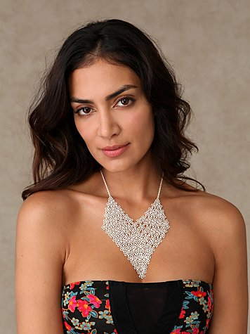 Flower Mesh Necklace at Free People Clothing Boutique :  necklace fashion mesh silver