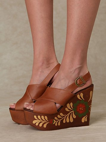 Diego Painted Platform at Free People Clothing Boutique :  round buckle beige floral motif sling backs