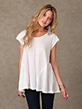 Short Sleeve V Neck Seamed Tee