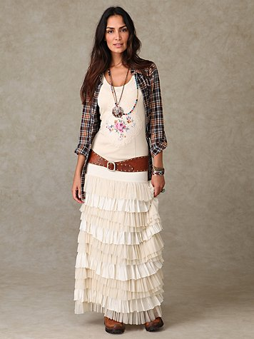 Ruffled Layers Maxi Skirt at Free People Clothing Boutique :  ruffle white free people skirt