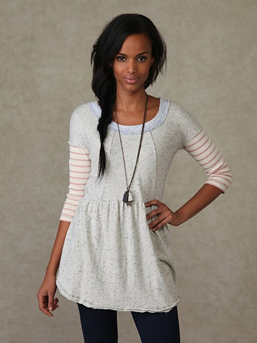 We the Free 3/4 Sleeve Stripe Babydoll Tunic