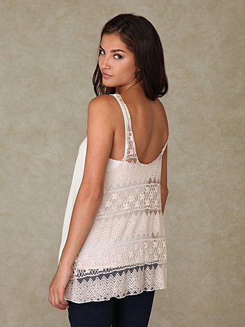 Buttonfront Lace Back Tank