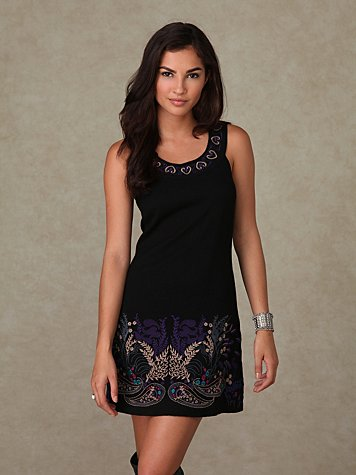 Embroidered Border Shift Dress at Free People Clothing Boutique from freepeople.com