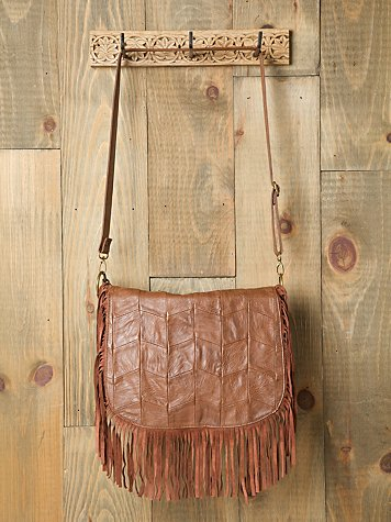 Patched Fringe Boho Messenger Bag