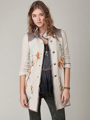 Embroidered Floral Sweater Jacket