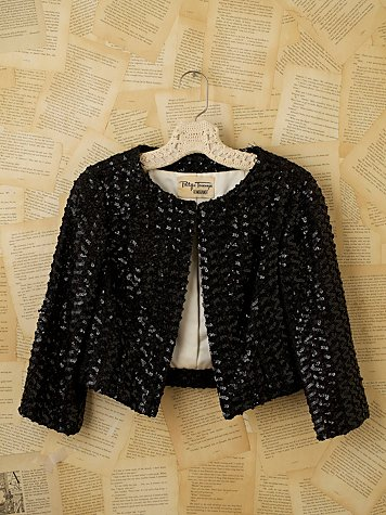 Vintage Sequin Cropped Jacket