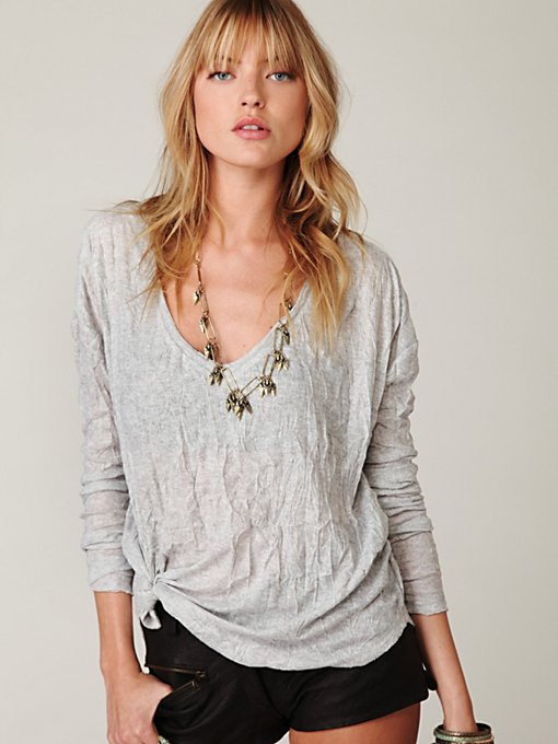 V-Neck Crinkled Turtle Long Sleeve Top