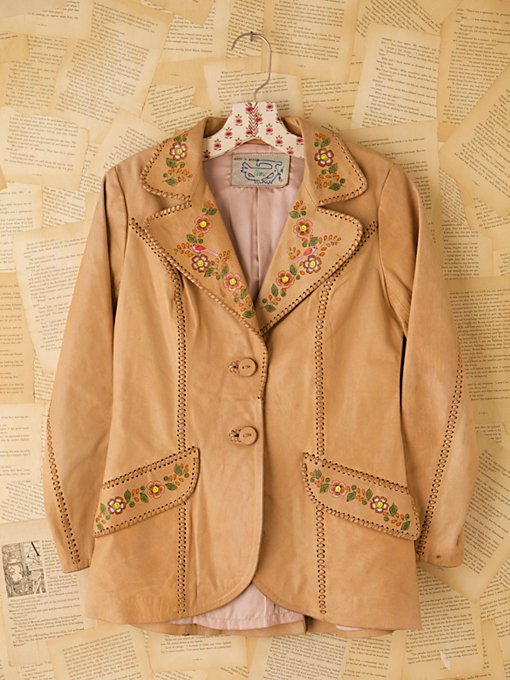 Free People Vintage Hand Painted Leather Jacket in Vintage-Clothing