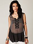 Sleeveless Sheer Embroidered Top