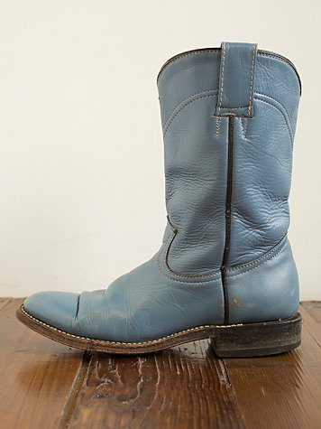 Vintage Round Toe Western Boot at Free People Clothing Boutique :  blue fashion leather cowgirl