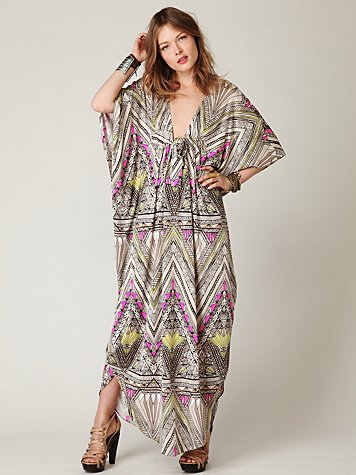 Long Printed Kaftan Dress