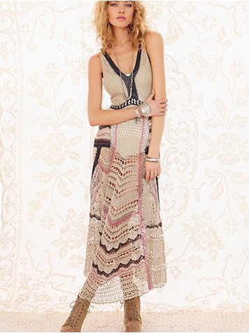 Free People FP Spun Eighty Stages Crochet Dress