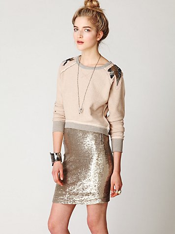 Distressed Sequin Pencil Skirt
