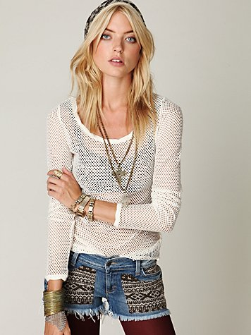 Intimately Free People Fishnet Long Sleeve Top