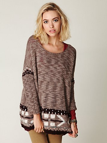 Oversized Fairisle Trimmed Sweater