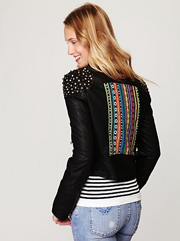 Free People Embellished Vegan Leather Motorcycle Jacket
