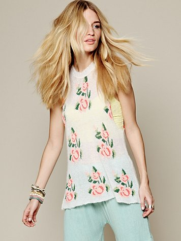 Wildfox Blossoms Squared Sweater Tunic