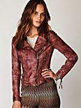 Vintage Wine Leather Biker Jacket