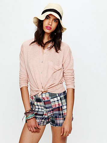 Free People FP Madras Plaid High Waisted Shorts
