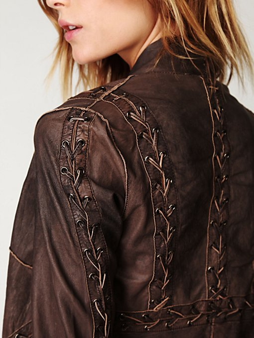Lace Up Leather Jacket