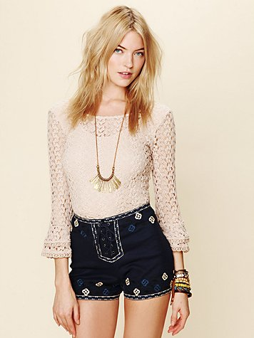 Free People San Jacinto Embroidered Short