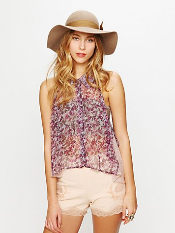 Free People Perimeters in Lace Linen Short