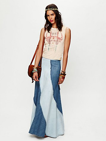 Free People Contrasting Denim Maxi