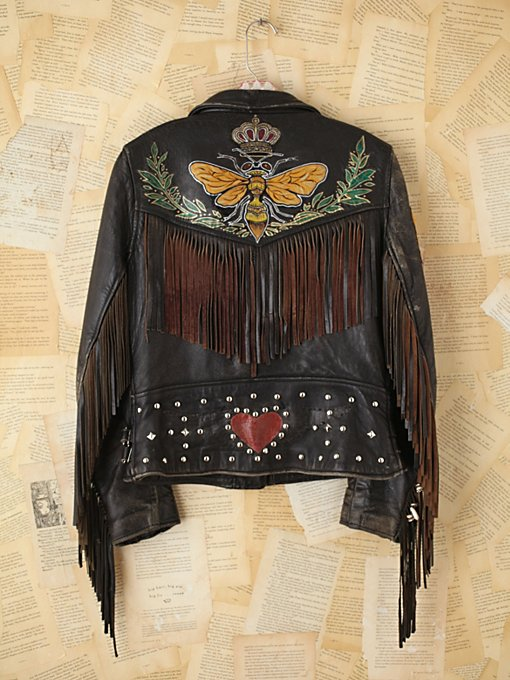 Vintage Melanie Bendavid Hand-Painted Leather Jacket in Once-Upon-a-Time