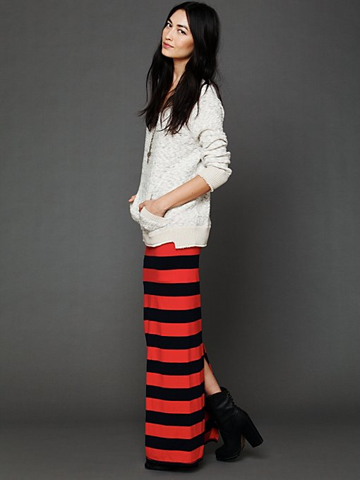 Rugby Stripe Column Skirt in clothes-skirts