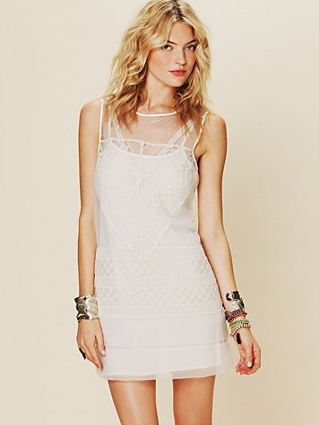 Free People Geometric Lace Shift Dress