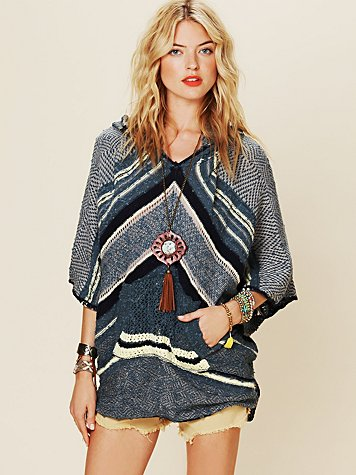Free People Rising Tides Hooded Poncho
