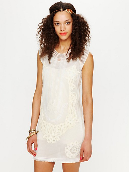 Candela Elle Embroidered Dropwaist Mini Dress in lace-dresses