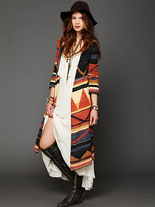 Long Pattern Hooded Cardigan