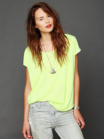 Free People We The Free Neon Burnout Easy Tee