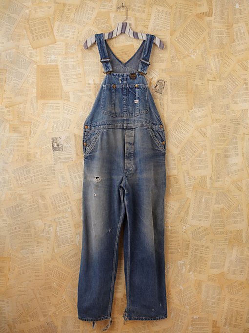 Free People Vintage Distressed Denim Overalls in vintage-jeans