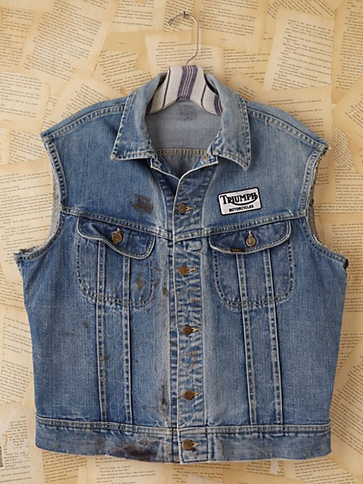 Free People Vintage Distressed Denim Vest in vintage-jeans