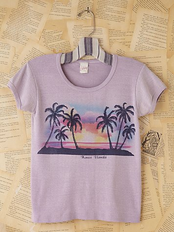 Free People Vintage Purple Hawaii Graphic Tee