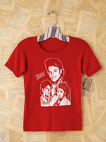 Free People Vintage Red Michael Jackson Graphic Tee
