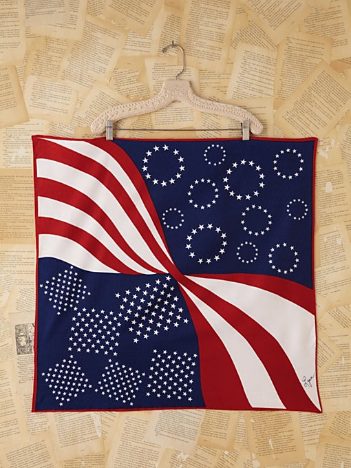 Free People Vintage Flag Printed Scarf in Vintage-Accessories