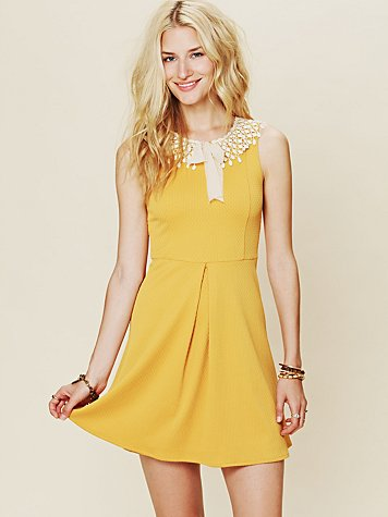 Free People Waffle Knit Collar Dress