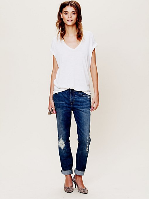 Free People High Rise Patched Menswear Skinny in Jeans