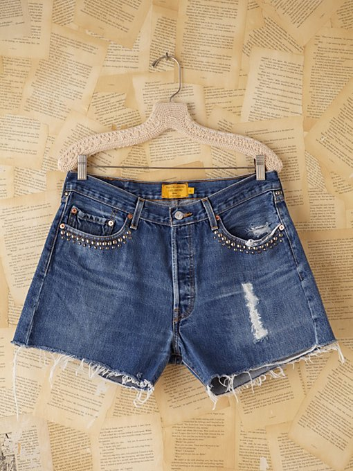 Free People Vintage Custom Studded Denim Cutoff Shorts in vintage-jeans