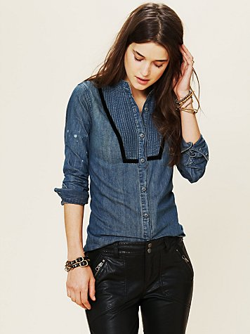Free People Blue Velvet Chambray Button-down